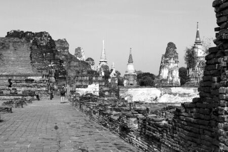 withe: Black and withe ancient Wat  Mahathat temple Ayutthaya, Thailand