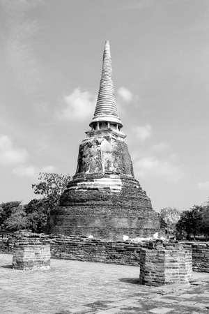 withe: Black and withe sharp pagoda Wat  Mahathat temple Ayutthaya, Thailand