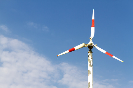 pu: The turbine natural energy and white cloud sky at Bang Pu Seaside of Thailand