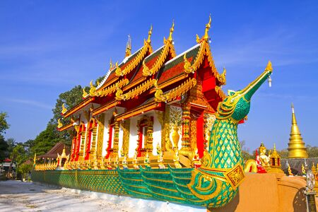 archtecture: Archtecture with blue sky at Wat  Phra That  Daung Deawi, Lamphun Province, of Thailand Stock Photo