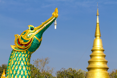 archtecture: Archtecture hong birds with sky at Wat  Phra That  Daung Deaw, Lamphun Province, of Thailand Stock Photo