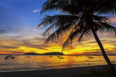 ra: Sunrise morning coconut on Pha Ra Don Phap beach at Chumphon Provice, Thailand Stock Photo