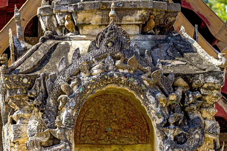 contryside: Ancient older architecture at Wat Li Hin Luang Lampang, in contryside of Thailand Stock Photo