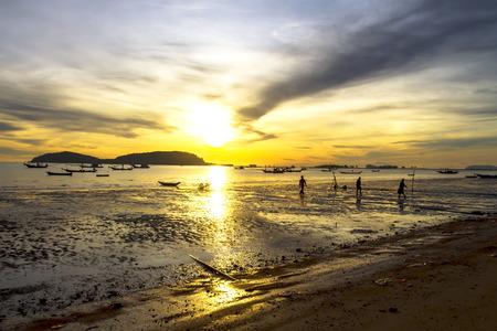 folkways: Morning with folkways fisherman on Pha Ra Don Phap beach at Chumphon Provice, Thailand