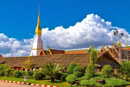 pra: Architecture with cloud sky at Wat Pra That Choeng Chum, Sakon Nakhon Thailandlnd