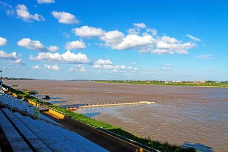 riverside county: Harbor on riverside Mekong River, at Mukdahan county,Thailand