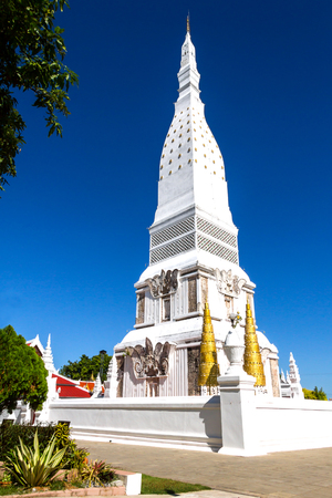 dyllic: Chedi PraThat Tha Uthen with blue sky , at Nakorn Phanom province Thailand