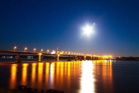 riverside county: Bridge and moon on riverside Mekong River, at Mukdahan county,Thailand