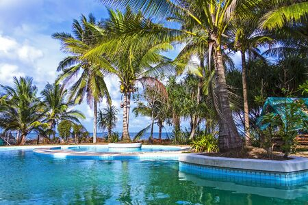 The pool and coconut on seaside, in Chumphon provinceThailand.