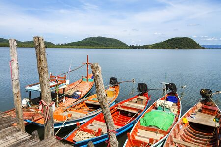 Small boat  and natural on Kram bay at beach Chumphon Province, Thailand Stock Photo