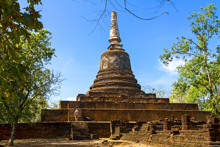 Wat Khao Suwankhiri temple and clear sky in Sisatchanalai Historical Park, Sukhothai province Thailand
