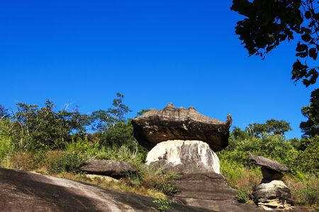 Mushroom stone and blue sky at Phu Pha thoep National Park Mukdahan county of Thailand Stock Photo