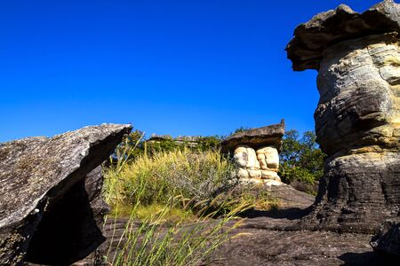 Mushroom stone beauty with sky at Phu Pha thoep National Park Mukdahan county of Thailand