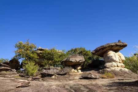 Mushroom stone and sunny at Phu Pha thoep National Park Mukdahan county of,Thailand