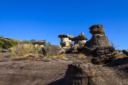 Mushroom stone beauty sky background at Phu Pha thoep National Park Mukdahan county of,Thailand Stock Photo