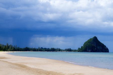 hua: The beach Bang Boet Beach, before the rain Chumphon Province Thailand is famous for travel