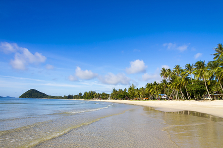 The beach Thung Wua Lan Beach, beautiful with sunlight and sky Chumphon Province Thailand is famous for travel 写真素材