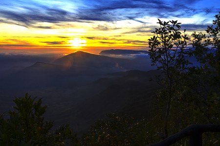 Sunrise idyllic with nature at Phu Ruea Nation Park, Loei Provnce Thailand