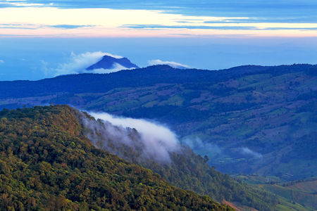 Viewpoint before sunrise at Phu Ruea Nation Park, Loei Province Thailand Stock Photo