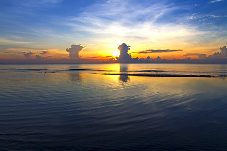 Sunrise beautiful at beach Ban Krut Beach, in Prachap Kirikhun Province Thailand is famous for travel