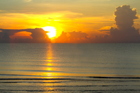 Sunrise with silhouette on sea at beach Ban Krut Beach, in Prachap Kirikhun Province Thailand is famous for travel