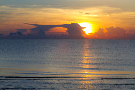 Sunrise with silhouette morning at beach Ban Krut Beach, in Prachap Kirikhun Province Thailand is famous for travel