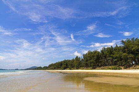 Beach Ban Krut Beach and pine beautiful in summer at  Prachuap Khiri Khan Province, Thailand is famous for travel Archivio Fotografico - 131288531