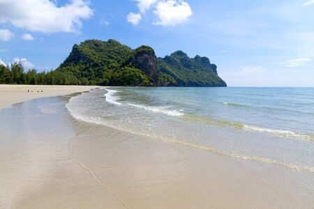 Beach sky and mountain at Baan Koh Teap beach at Chumphon Province Thailand is famous for travel 写真素材