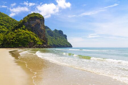Beach sunshine and mountain at Baan Koh Teap beach at Chumphon Province Thailand is famous for travel