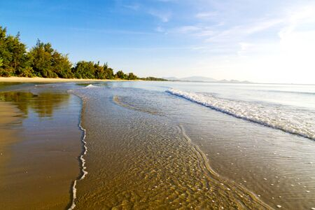 Beach in the morning beautiful  with sunlight at Ban Krut Beach, in Prachuap Kirikhun Province Thailand is famous for travel Archivio Fotografico - 131283231