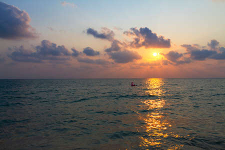 Sunset with cloud in Lonely beach at Koh Chang Thailand.
