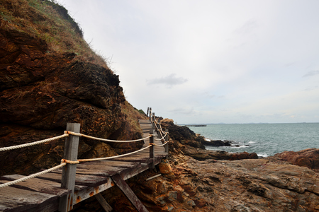 The wood bridge walk to sigthseeing seaside nature At Ra-yong,Thailand