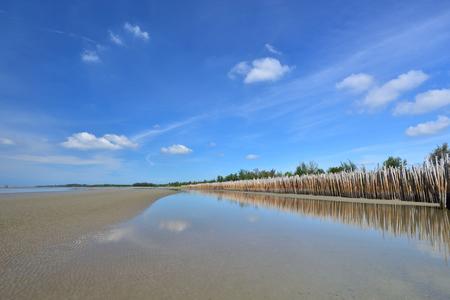 Bamboo wall protects waves sea Klaeng,Rayong,Thailand
