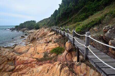 The wooden bridge walk to sightseeing nature Khao Laem Ya-Mu ko Samet national parks Ra-yong Thailand