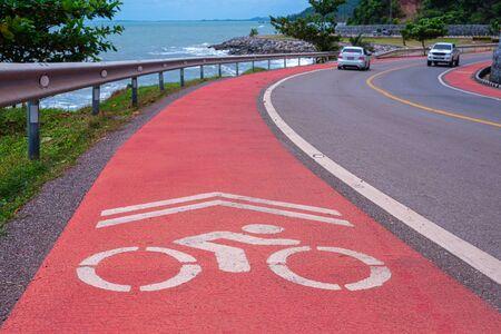 Travel on a winding road and beautiful at seaside Chanthaburi Thailand Stock Photo