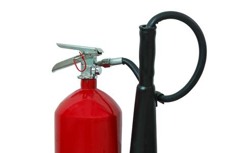 extinguish: Red fire extinguisher, isolated on white Stock Photo
