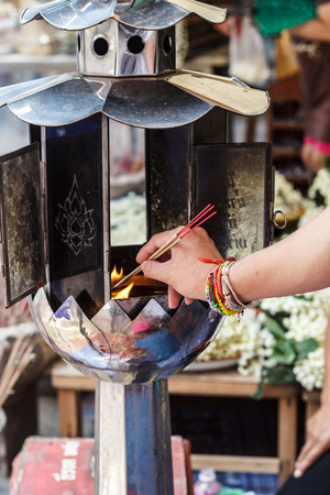 candles for buddhism worshiping of Wat at chiangmai