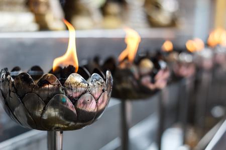 Candlestick Wat Phrathat Doi Suthep RajaWaraWihara at Thailand temple photo