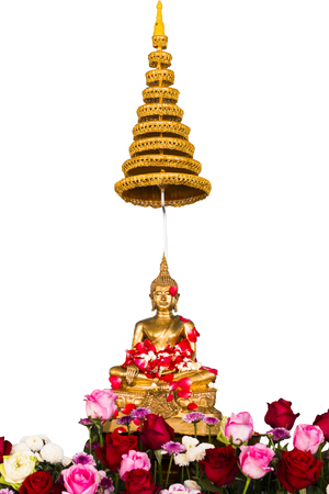Songkran festival in Thailand,the water pouring to golden buddha statue.Cost-up,Clipping path
