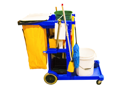 Cleaning tools cart wait for cleaning.Bucket and set of cleaning equipment on white background. Cleaning service concept.