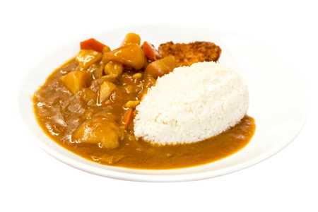 Japanese food, Rice with Pork Cutlet (Tonkatsu) and curry chicken on white background.Copy space.Clipping path Stock fotó