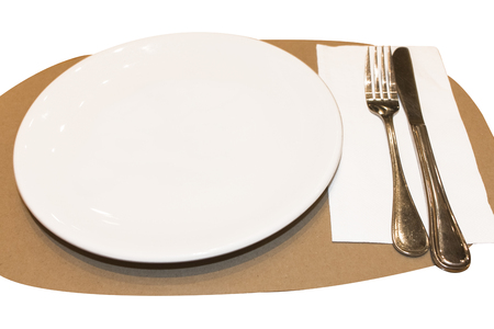 White dish ,spoon and fork to creative for design and decoration isolate on background.Copy space.
