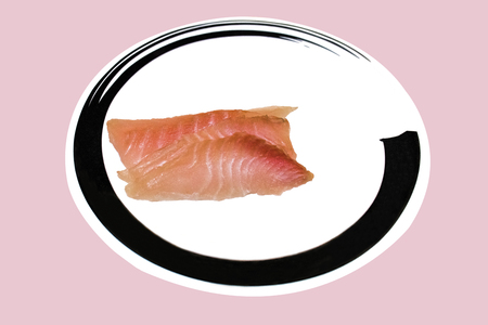 Slide fish on white dish to creative for design and decoration isolate on background.Copy space. Stock Photo