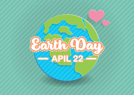 White Earth day text and pink heart paper art on blue and green globe with green background vector illustration. Illustration