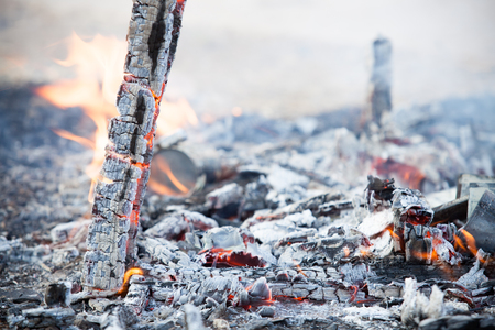 billet: burning wood in outdoor focus at Flame Stock Photo