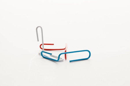 paperclips: Colorful paperclips isolated on white background