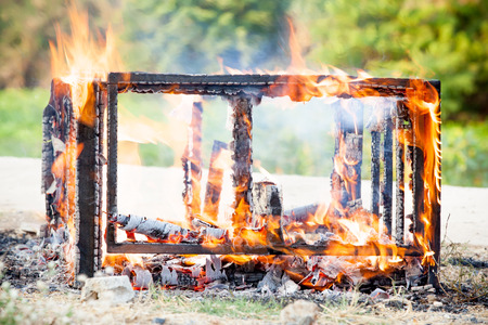 smolder: burning wood in outdoor focus at Flame Stock Photo