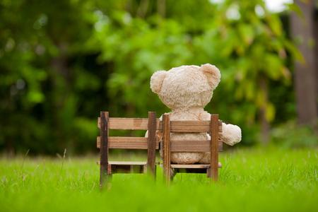 Close-up mooie teddybeer zitten op houten stoel, Concept over eenzaamheid of te wachten op iemand, Natuurlijke achtergrond