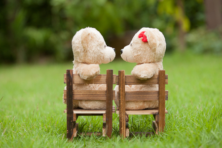 Lovely kiss teddy bear sit on wooden chair, Concept wedding of love,  Natural background Stock Photo