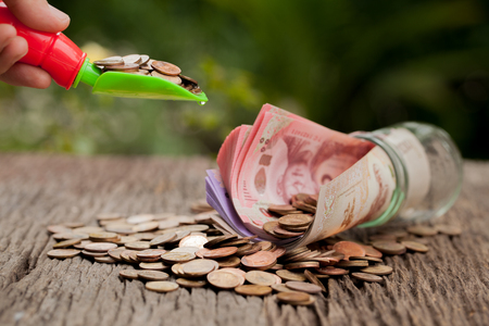 money concept: Money and money jar with shovel and cash, Saving money concept, financial savings to buy a house,trees growing in a sequence of germination on piles of coins, Growth, business, money. Stock Photo
